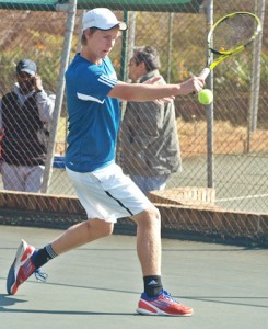 Second seed Francois Kellerman of Western Province in action at the Gauteng North Junior ITF being played at the Groenkloof Tennis Stadium in Pretoria. Kellerman beat unseeded Mehluli Sibanda of Zimbabwe 6-3 6-3 in the quarterfinals on Wednesday.