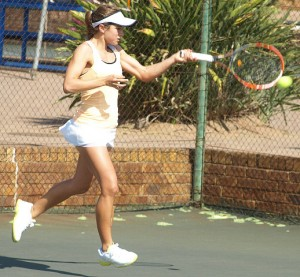 Second seed Katie Poluta of Western Province in action at the Gauteng North Junior ITF being played at the Groenkloof Tennis Stadium in Pretoria. Poluta beat eighth seed Minette Van Vreden also of South Africa 6-3 6-0 in the quarterfinals on Wednesday.