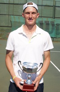 Kris002: Fourth seed Kris Van Wyk of the Western Province, winner of the boys singles Wanderers Junior ITF 2014. Van Wyk beat unseeded Philip Franken of Boland 6-4 6-3 to take the title on Friday.
