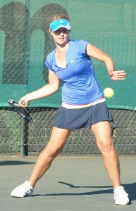 Fifth seed Lee Barnard of Gauteng North in action at the Wanderers Junior ITF on Friday. Barnard beat unseeded Minette Van Vreden also of South Africa 6-2 6-2 in the finals to take the title.