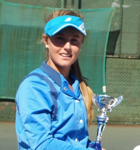 Lee003: Fifth seed Lee Barnard of Gauteng North, winner of the girls singles Wanderers Junior ITF 2014. Barnard beat unseeded Minette Van Vreden of Boland 6-2 6-2 to take the title on Friday.