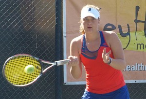 Fourth seed Rouxanne Janse Van Rensburg of Boland in the finals of the Dunlop Classic on Saturday. Janse Van Rensburg upset top seed Caitlin Herb of Gauteng North 6-4 6-1 in the open age group to take the title.