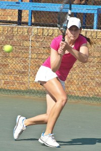 Unseeded Vanja Klaric of Serbia on Wednesday at the Gauteng North Junior ITF. Klaric upset third seed Nadine De Villiers of South Africa 6-4 6-4 in the quarterfinals at the Groenkloof Tennis Stadium in Pretoria.
