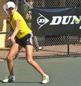 Unseeded Margo Landmann of Free State upset third seed Casandra Metzer of Gauteng East 6-2 7-6 (4) in the semi-finals in the girls under 16 of the Dunlop Classic in Ellis Park on Friday.