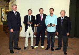 Frew McMillan (RSA), Cliff Drysdale (RSA) and Wayne Ferreira (RSA) receive the Davis Cup Commitment Award from ITF President Francesco Ricci Bitti (far right) and Tennis South Africa President Gavin Crookes (far left) at Wimbledon this week.