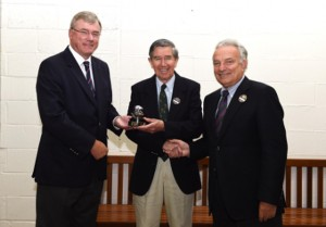 Frew McMillan (RSA) receives the Davis Cup Commitment Award from ITF President Francesco Ricci Bitti (far right) and Tennis South Africa President Gavin Crookes (far left) at Wimbledon this week.
