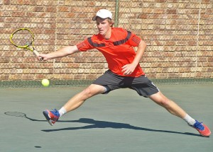 Second seed Francois Kellerman of South Africa in action at the Gauteng North Junior ITF on Friday. Kellerman upset top seed and fellow South African Brandon Laubser 6-4 1-6 6-2 to take the title in the final.