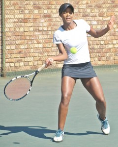 Top seed Lesedi Jacobs of Namibia in action at the Gauteng North Junior ITF on Friday. Jacobs beat second seed South African Katie Poluta 6-7 (6) 6-2 7-6 (2) to take the title.