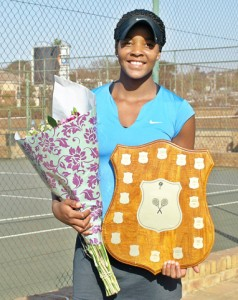 Top seed Lesedi Jacobs of Namibia, winner of the girls singles Gauteng North Junior ITF. Jacobs beat second seed Katie Poluta of South Africa 6-7 (6) 6-2 7-6 (2) in the final on Friday.