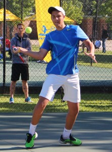 Boys top seed JD Malan of South Africa in action during round 1 of the SAS Junior ITF 1. Malan beat fellow Nikolai Menchev of Bulgaria 6-2 7-5 on Monday.
