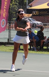 Top seed Lee Barnard of South Africa in action at the SAS Junior ITF on Monday. Barnard beat fellow South African unseeded Nicola Steenkamp 6-1 6-2 in the first round.