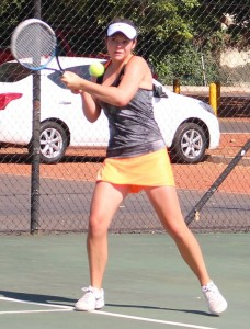 Unseeded Mila Hartig of South Africa on Tuesday at the SAS ITF Junior 2 in Stellenbosch. Hartig upset fifth seed Elizabeth Pam of Nigeria 7-6 (5) 6-4 in the second round.