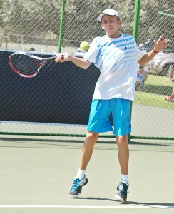 Philip: Second seed Philip Henning of Free State in action at the TSA Junior Masters boys under 14. Henning beat fourth seed Marno Stander of Western Province 6-4 6-2 in the semi-finals on Thursday. Henning will now face third seed Sipho Montsi on Gauteng North in the finals on Friday.