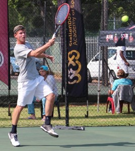 Fifth seed Philip Frankin of South Africa in action in the quarterfinals of the SAS ITF Junior 1 on Wednesday. Frankin beat fellow South African unseeded Marnich Hattingh 6-3 7-5 in Stellenbosch.