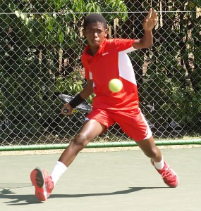 Sipho: Third seed Sipho Montsi of Gauteng North in action in the semi-finals of the boys under 14 TSA Junior Masters. Montsi beat third unseeded Christiaan Worst also of Gauteng North 6-3 3-6 6-0 on Thursday. Montsi will now face second seed Philip Henning of Free State in the finals on Friday.