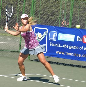 Second seed Zani Barnard of Gauteng North in action in the under 16 girls final of the TSA Junior Masters. Barnard upset top seed and twin sister Lee Barnard 6-4 6-1 on Friday. Corin: Top seed girls under 14 girls winner Corin De Waal of Boland in action at the finals of the TSA Junior Master. De Waal beat second seed Maja Gledic of Gauteng Central 6-4 6-4 in the finals on Wednesday.