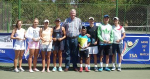 From left, under 18 girls winner Katie Poluta, Under 16 girls winner Zani Barnard, under 14 girls winner Corin De Waal, under 12 girls winner Lara Van Der Merwe, Tennis South Africa President Gavin Crookes, under 12 boys winner Kholo Montsi, under 14 boys winner Philip Henning, under 16 boys winner Tim Dollman and under 18 boys winner Jan Berry. Kholo: Top seed Kholo Montsi of Gauteng North in action during the boys under 12 finals of the TSA Junior Master on Friday. Montsi beat second seed Robbie Arends of Western Province 6-4 7-5 to take the title.