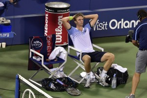 September 7, 2015 -  Kevin Anderson reacts after beating Andy Murray in a men's singles fourth-round match during the 2015 US Open at the USTA Billie Jean King National Tennis Center in Flushing, NY. (USTA/Steve Ryan)