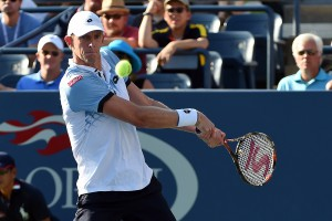 September 7, 2015 -  Kevin Anderson in action against   Andy Murray in a men's singles fourth-round match during the 2015 US Open at the USTA Billie Jean King National Tennis Center in Flushing, NY. (USTA/Garrett Ellwood)
