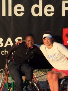 From L-R: South Africa's Kgothatso Montjane and doubles partner Emmanuelle Morch of France posed for pictures following their victory on Saturday at lle de Re in France. Picture credits: Wheelchair Tennis South Africa