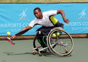 BENONI, SOUTH AFRICA - APRIL 08: Evans Maripa of South Africa in action against Patrick Selepe (RSA) in the first round of the men's singles during day 1 of the Airports Company South Africa Gauteng Open at the Gauteng East Tennis Complex on April 08, 2015 in Benoni South Africa. (Photo by Reg Caldecott/Gallo Images)