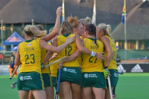 SA celebrate Lilian du Plessis' (third from right) penalty corner goal during the Greenfields Africa Hockey Championship match against Zimbabwe at Randburg Hockey Stadium Tuesday. SA won 6-0.