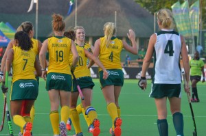 SA celebrate the penalty corner goal of Nicole Walraven (4) during the Greenfields Africa Hockey Championship match against Zimbabwe at Randburg Hockey Stadium Tuesday. SA won 6-0.