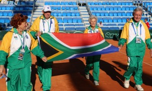 South African Super Seniors at the opening ceremony of the 2015 Super-Seniors World Individual Championships held in Umag, Croatia.