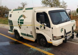 The cash delivery van which was targeted by criminals