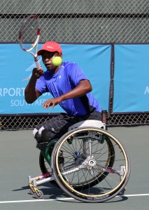 South African men's top ranked wheelchair tennis ace Evans Maripa in action at the Airports Company South Africa SA Open staged early this year at Ellis Park Tennis Stadium.