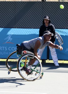 South African women's top ranked wheelchair tennis ace Kgothatso Montjane in action at the Airports Company South Africa Gauteng Open staged early this year in Benoni. Picture credits: Reg Caldecott