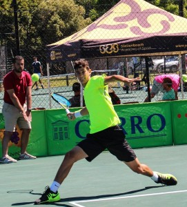 Fourth seed Lloyd Harris of South Africa in action during round 1 of the Digicall Futures 1 on Tuesday at the University of Stellenbosch. Harris beat unseeded fellow South African Johannes Myburgh 6-0 6-3.