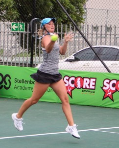 Sixth seed South African Madrie Le Roux in action in round two of the Digicall Futures 1. Le Roux beat unseeded Anne-Sophie Courteau of Canada 6-2 6-1 on Thursday.