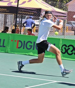 Second seed Nik Scholtz of South Africa in action at the Digicall Futures 3 on Thursday. Scholtz beat unseeded Dekel Bar of Israel 4-6 6-4 6-4 in the third round played at the University of Stellenbosch.