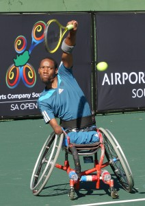 Lucas Sithole in action at Airports Company South Africa SA Open at Ellis Park Tennis Stadium in April 2015. (Picture credits: Reg Caldecott)