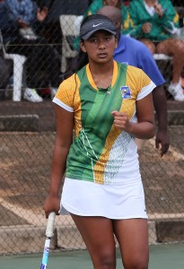 Makayla Loubser of South Africa, Cape Town in the girls 14 and under finals on Saturday. Loubser beat Aisha Niyonkuru of Burundi 7-5 6-3 to take the title.