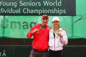 From left to right; Bruce Young and Lettica Venter of South Africa winners of the 36th Young Seniors World Individual Championships 2016 mixed doubles 45+.