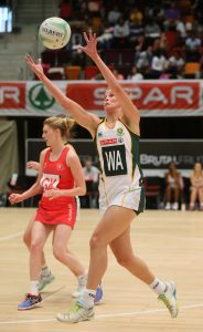 Izette Lubbe passing the ball to a team-mate at the ICC on the 18th June 2016, SPAR Netball series Saturday.