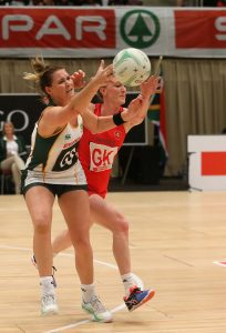 Lenize Potgieter stealing the ball from Welsh player Kelly Morgan at the ICC on the 18th June 2016, SPAR Netball series Saturday.