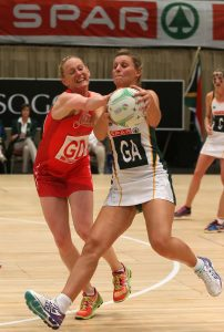 Maryka Holtzhausen also sealing the ball from Welsh player Steph Perry at the ICC on the 18th June 2016, SPAR Netball series Saturday.