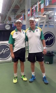 South African Senior tennis gold medal winner in the 60+ age group from left Marius Genis (Gauteng North) and Ronnie van 't Hof (Gauteng Central) pictured after winning the ITF Senior World Individual Championships held in Helsinki, Finland.