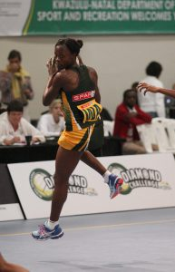 Bongi Msomi the newly appointed captain of the SPAR Proteas team on court at the Diamond Challenge last year in Port Shepstone Ugu Sports and Leisure center.