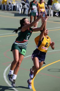 Romé Dreyer of North West (Left) and Lauren-Lee Christians of Free State in action during day 4 of the 2016 Spar National Netball Championships at Hoy Park Sports Complex on August 11, 2016 in Durban, South Africa.