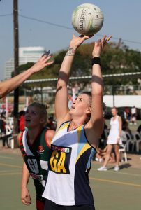 Lindie Lombard of Gauteng A1 in action against the North West Province during day 5 of the SPAR National Netball Championships 2016 held in Durban at the Hoy Park Sports Complex.