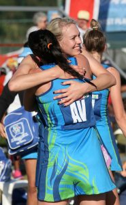 Mari-Lena Joubert (left) and Vanes-Mari du Toit of the Western Cape celebrating their win over the Free State on Wednesday at the Hoy Park Sports Complex in Durban during the SPAR National Netball Championships 2016.
