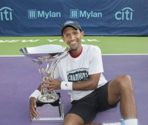 South African tennis professional, Raven Klaasen of Cape Town with the Mylan World Team Tennis (WTT) Trophy at Forest Hills, New York. Klaasen was a member of the San Diego Aviators that were crowned Mylan WTT Champions for 2016 on Friday.