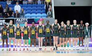 The SPAR Proteas united during the playing of the South African national anthem Nkosi Sikelel' iAfrika on Sunday in Melbourne ahead of their final Quad Series game against England. England beat South Africa 57-44
