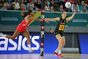 The SPAR Proteas Goal Shooter Lenize Potgieter controls the ball in the circle of South Africa's final Quad Series game against England in Melbourne, Australia on Sunday. England beat South Africa 57-44.
