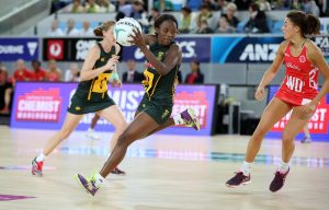 The SPAR Proteas wing attack and captain Bongi Msomi controls the ball on attack during South Africa's last game against England in the Quad Series played in Melbourne, Australia on Sunday. England beat South Africa 57-44.