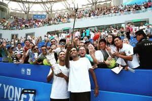 (Left) Raven Klaasen of South Africa taking a selfie with his doubles partner, (Right) American Rajeev Ram after winning the Chengdu Open Doubles title on Sunday played at Chengdu, China.